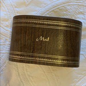 "Vintage Mail Holder - brown faux ""wood"""